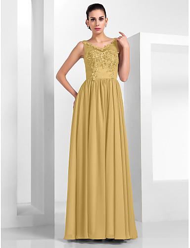 billige Formelle dresser-A-linje Illusjon Hals Gulvlang Chiffon / Tyll Kjole med Appliqué av TS Couture®