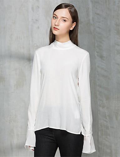 Damen Solide Einfach Lässig/Alltäglich T-shirt,Rundhalsausschnitt Herbst Langarm Polyester