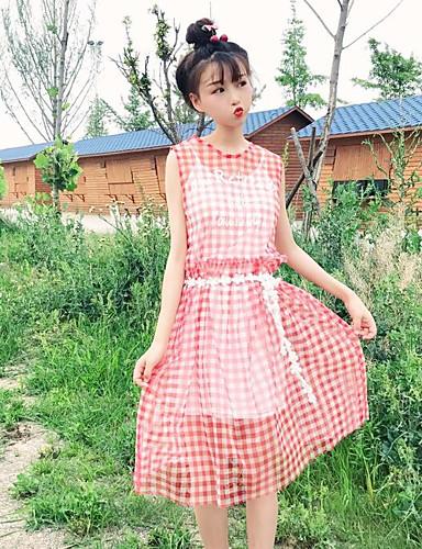 Damen Tunika Kleid-Lässig/Alltäglich Verziert Rundhalsausschnitt Knielang Ärmellos Polyester Sommer Hohe Hüfthöhe Unelastisch Dünn