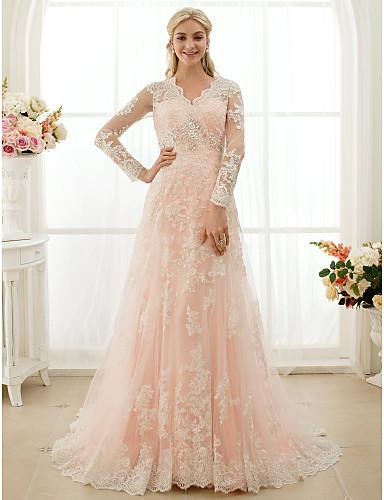 Hercegnő V-alakú Udvari uszály Mindenhol csipke Made-to-measure esküvői ruhák val vel Rátétek / Gombok / Kristály díszítés által LAN TING BRIDE® / Illúzió / Színes menyasszonyi ruhák / Átlátszó