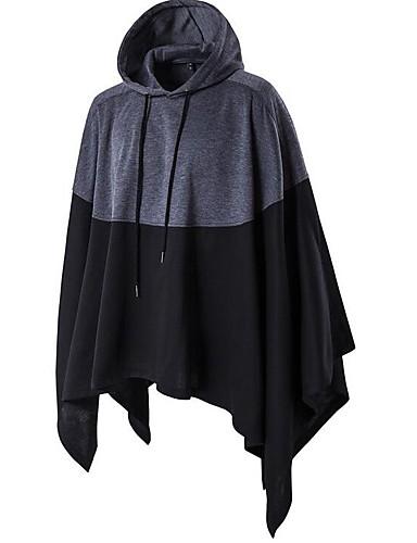Men's Long Plus Size Cotton Cloak / Capes - Color Block Hooded / Long Sleeve