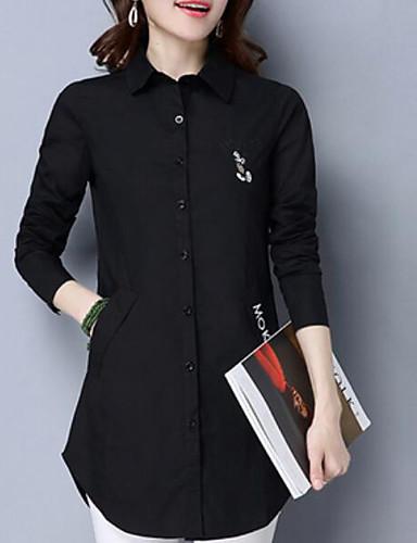 نساء قميص كاجوال/يومي بسيط طباعة رقبة مربعة كم طويل قطن أخرى