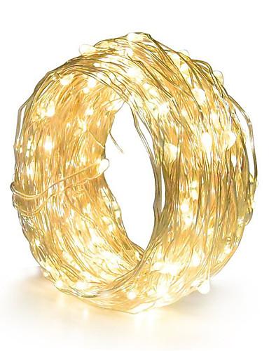 billige Holiday Decoration Light-hkv® kobbertråd ledd streng lys natt lys ferie belysning for krone fe juletre fest