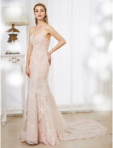 Mermaid / Trumpet Sweetheart Neckline Court Train Lace / Tulle Made-To-Meature Wedding Dresses with Beading / Appliques by LAN TING BRIDE®