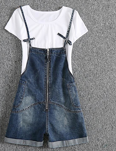 Women's Loose Slim Overalls Jeans Pants - Solid Colored