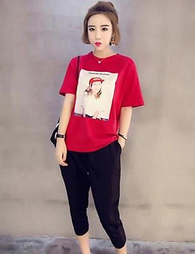 Damen Solide Sonstiges Street Schick Ausgehen T-Shirt-Ärmel Hose Anzüge,Rundhalsausschnitt Sommer Kurzarm Rückenfrei Unelastisch