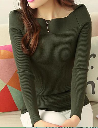 Damen Standard Pullover-Lässig/Alltäglich Solide Bateau Langarm Baumwolle Herbst Winter Mittel Mikro-elastisch
