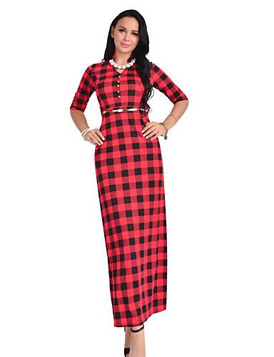 Damen Bodycon Kleid-Lässig/Alltäglich Schachbrett V-Ausschnitt Maxi Halbe Ärmel Baumwolle Herbst Hohe Hüfthöhe Unelastisch Mittel