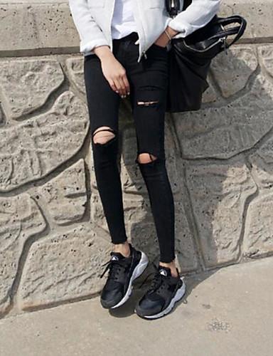 Damen Street Schick Mittlere Hüfthöhe Mikro-elastisch Jeans Skinny Hose Solide
