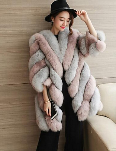 Women's Plus Size Simple Casual Winter Fall Fur Coat,Color Block Round Neck Long Sleeve Long Fox Fur