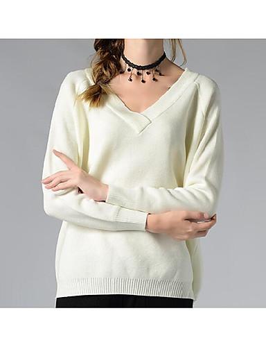Damen Standard Pullover-Lässig/Alltäglich Einfach Solide V-Ausschnitt Langarm Acryl Herbst Winter Mittel Mikro-elastisch