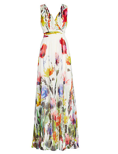 Női Tengerpart Szabadság Swing Ruha - Nyomtatott, Virágos Maxi V-alakú Magas derekú Pillangó