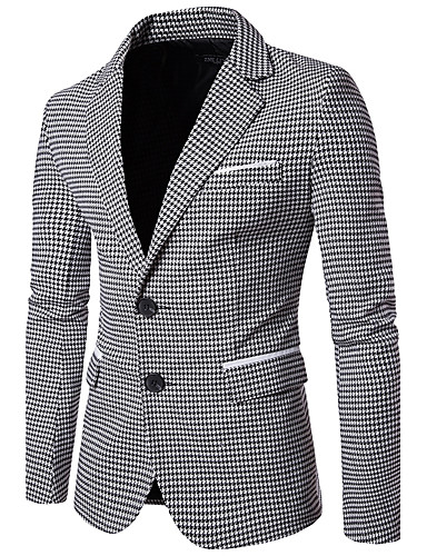 cheap Men's Blazers & Suits-Men's Work Business / Vintage Fall Regular Blazer, Houndstooth Peaked Lapel Long Sleeve Cotton Green / Black L / XL / XXL / Business Casual / Slim