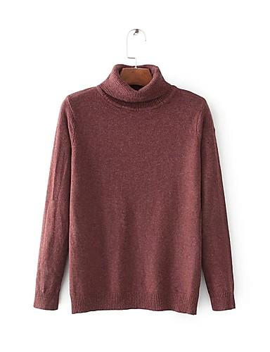 Damen Lang Pullover-Ausgehen Lässig/Alltäglich Einfach Solide Rundhalsausschnitt Langarm Baumwolle Frühling Herbst Dünn Mittel
