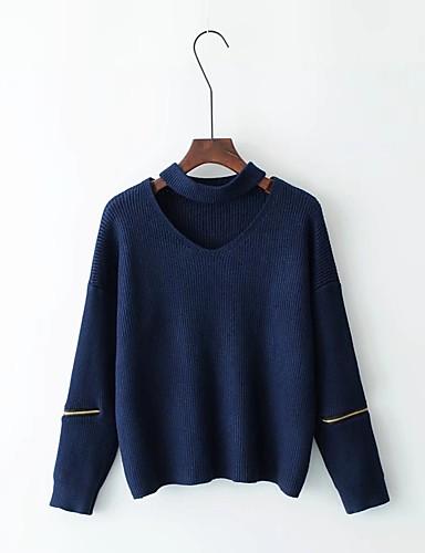 Damen Standard Pullover-Ausgehen Lässig/Alltäglich Einfach Solide Halter Langarm Wolle Baumwolle Polyester Frühling Herbst Dünn Mittel