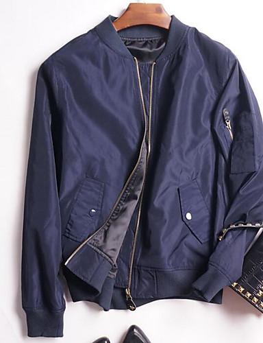 Damen Solide Einfach Lässig/Alltäglich Jacke,Ständer Frühling Sommer Lange Ärmel Standard Polyester
