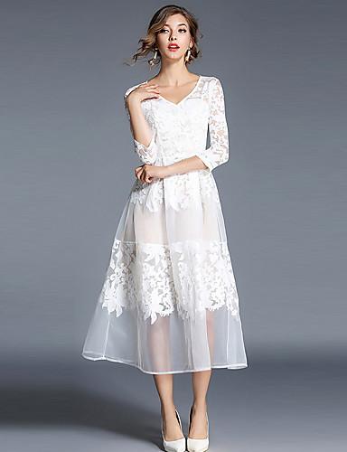 Damen A-Linie Hülle Swing Kleid-Ausgehen Lässig/Alltäglich Einfach Street Schick Anspruchsvoll Solide Stickerei V-Ausschnitt Midi3/4