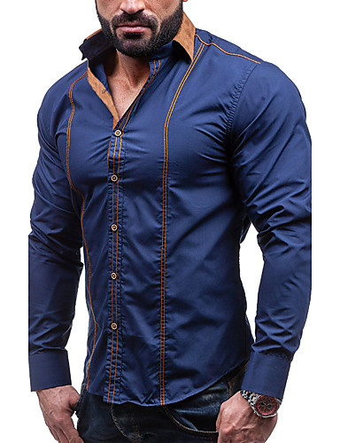 Men's Party Street chic Plus Size Cotton Slim Shirt - Solid Colored Basic Spread Collar / Long Sleeve