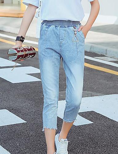 Damen Einfach Hohe Hüfthöhe Mikro-elastisch Jeans Skinny Hose Solide