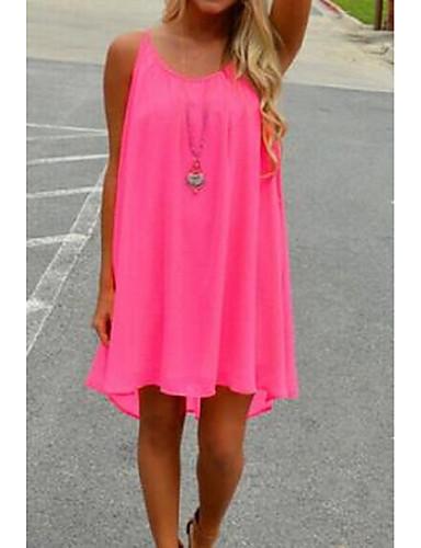 Damen Lose Kleid-Ausgehen Lässig/Alltäglich Solide Gurt Übers Knie Ärmellos Baumwolle Sommer Mittlere Hüfthöhe Unelastisch Dünn
