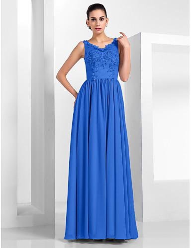 billige Kjoler til bryllupsgæster-A-linje Illusion Neckline Gulvlang Chiffon / Tyl Kjole med Applikeret broderi ved TS Couture®