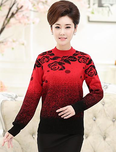Damen Standard Pullover-Lässig/Alltäglich Druck Rundhalsausschnitt Langarm Wolle Winter Mittel Mikro-elastisch