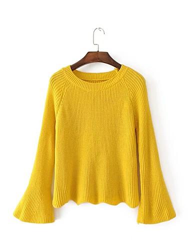 Damen Standard Pullover-Lässig/Alltäglich Ausgehen Einfach Solide Rundhalsausschnitt Langarm Baumwolle Polyester Frühling Herbst Mittel