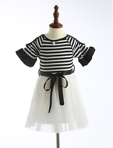 Mädchen Gestreift Kurzarm Kleid