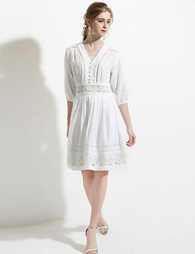 Damen A-Linie Hülle Kleid-Ausgehen Lässig/Alltäglich Sexy Einfach Anspruchsvoll Solide Stickerei V-Ausschnitt Übers Knie 3/4 Ärmel