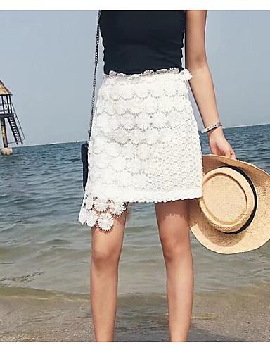 Damen Ausgehen Über dem Knie Röcke Schlank Solide Sommer