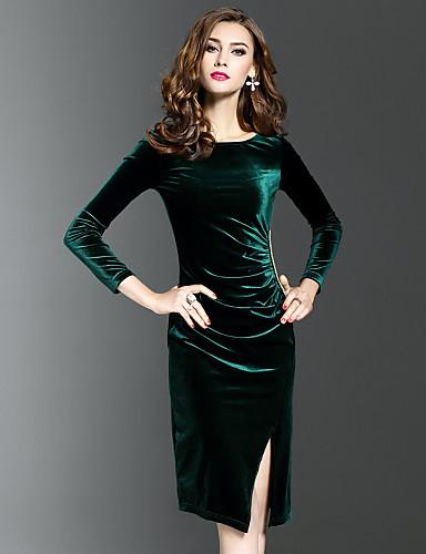 Damen Bodycon Hülle Kleid-Ausgehen Lässig/Alltäglich Übergröße Einfach Street Schick Anspruchsvoll Solide Rundhalsausschnitt Midi Langarm