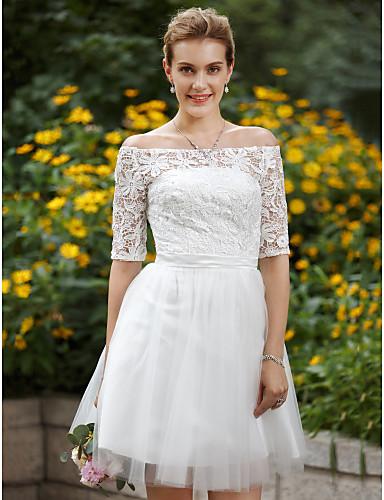 A-라인 환상 목걸이 무릎 길이 레이스 튤 웨딩 드레스 와 아플리케 으로 LAN TING BRIDE®