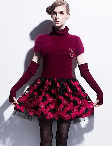 Damen Hülle Kleid-Lässig/Alltäglich Druck Rollkragen Übers Knie Kurzarm Baumwolle Frühling Mittlere Hüfthöhe Unelastisch Mittel