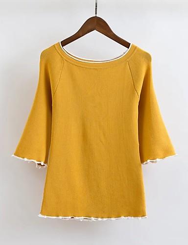 Damen Standard Pullover-Ausgehen Lässig/Alltäglich Einfach Niedlich Solide Rundhalsausschnitt 3/4 Ärmel Andere Winter Herbst Dünn Mittel