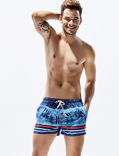 Men's Sporty Bottoms - Striped Print Board Shorts / 1 Piece / Super Sexy