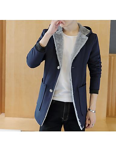 Herren Solide Einfach Lässig/Alltäglich Jacke,Mit Kapuze Winter Lange Ärmel Standard Baumwolle