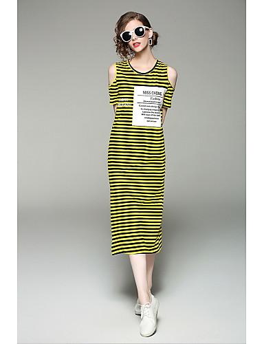 Damen Hülle Kleid-Ausgehen Niedlich Gestreift Patchwork Rundhalsausschnitt Midi Kurzarm Baumwolle Sommer Mittlere Hüfthöhe Mikro-elastisch
