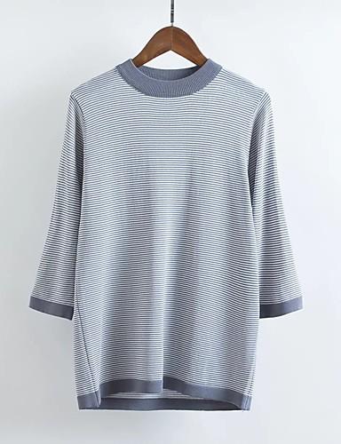 Damen Standard Pullover-Ausgehen Lässig/Alltäglich Einfach Gestreift Rundhalsausschnitt Langarm Andere Frühling Herbst Dünn Mittel