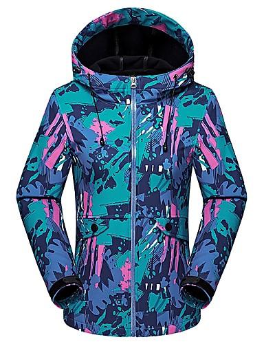cheap Outdoor Clothing-Women's Camo Hiking Softshell Jacket Outdoor Thermal / Warm Breathable Warm Wearproof Spring Fall Winter Softshell Jacket Top Camping / Hiking Hunting Climbing Blue Orange Fuchsia XL XXL XXXL -