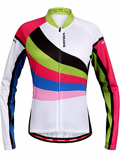 cheap Cycling Clothing-WOSAWE Women's Long Sleeve Cycling Jersey - Rainbow Bike Jersey Top Quick Dry Sports Polyester Mountain Bike MTB Road Bike Cycling Clothing Apparel / Stretchy / Advanced / Advanced