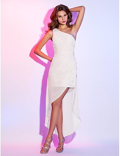 abordables Robes de Fête-Fourreau / Colonne Une Epaule Asymétrique Mousseline de Soie Velours Robe avec Billes / Ruché par TS Couture®