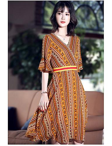 Damen Swing Kleid-Ausgehen Niedlich Druck V-Ausschnitt Midi Halbe Ärmel Polyester Sommer Mittlere Hüfthöhe Mikro-elastisch Mittel