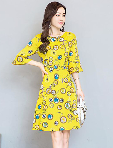 طول الركبة مرتفع طباعة - فستان غمد للمرأة / صيف