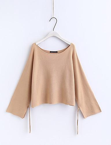 Damen Standard Pullover-Ausgehen Lässig/Alltäglich Einfach Niedlich Solide Rundhalsausschnitt Langarm Baumwolle Andere Frühling Herbst