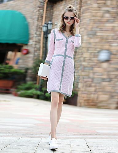 Damen Bodycon Kleid-Lässig/Alltäglich Einfach Einfarbig V-Ausschnitt Maxi 3/4 Ärmel Wolle Polyester Herbst Winter Mittlere Hüfthöhe
