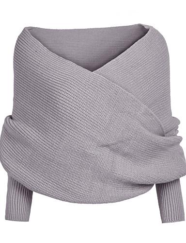 Damen Kurz Pullover-Ausgehen Lässig/Alltäglich Einfach Solide V-Ausschnitt Langarm Acryl Herbst Dick Mikro-elastisch