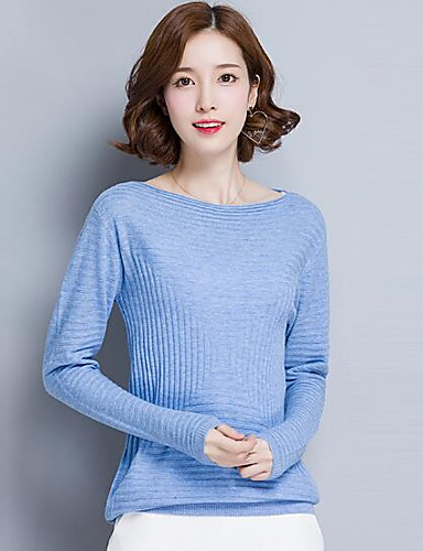Damen Standard Pullover-Lässig/Alltäglich Solide Bateau Langarm Wolle Andere Herbst Mittel Mikro-elastisch
