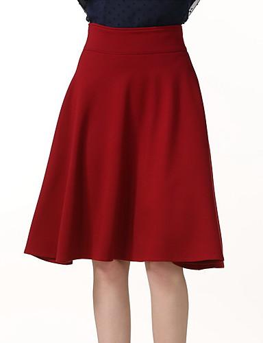 olcso Női szoknyák-Női A-vonalú / Hinta Szabadság / Alkalmi / Klub Szoknyák - Egyszínű Fekete Rubin Bor XXXL XXXXL XXXXXL