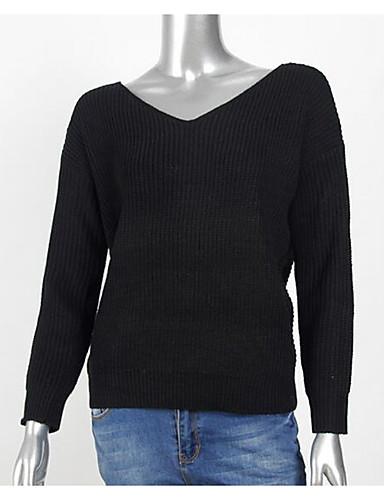 Damen Standard Pullover-Lässig/Alltäglich Solide V-Ausschnitt Langarm Baumwolle Herbst Mittel Mikro-elastisch