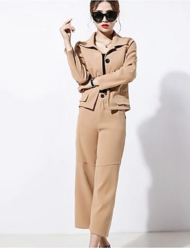 Damen Solide Street Schick Arbeit Ausgehen Lässig/Alltäglich Hemd Hose Anzüge,Hemdkragen Frühling Herbst Langärmelige Baumwolle